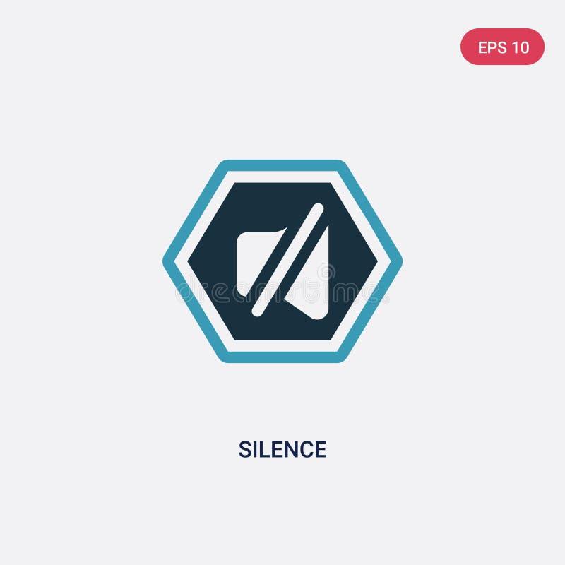 Icône de vecteur de silence de deux couleurs de concept de signes le symbole bleu d'isolement de signe de vecteur de silence peut illustration libre de droits
