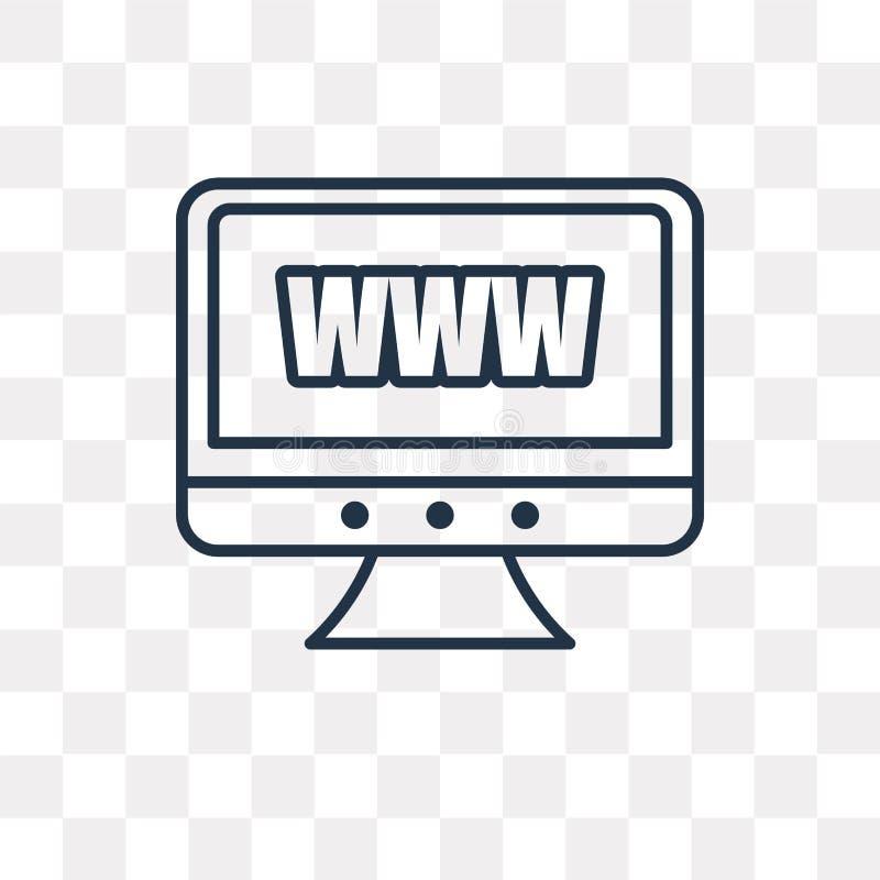Icône de vecteur de site Web d'isolement sur le fond transparent, W linéaire illustration stock
