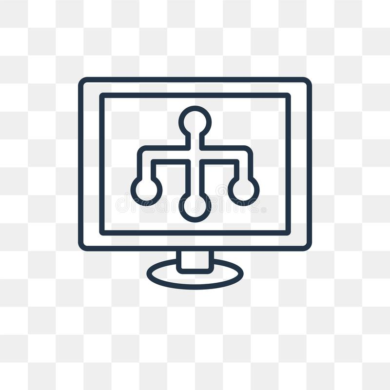 Icône de vecteur de Sitemap d'isolement sur le fond transparent, S linéaire illustration stock