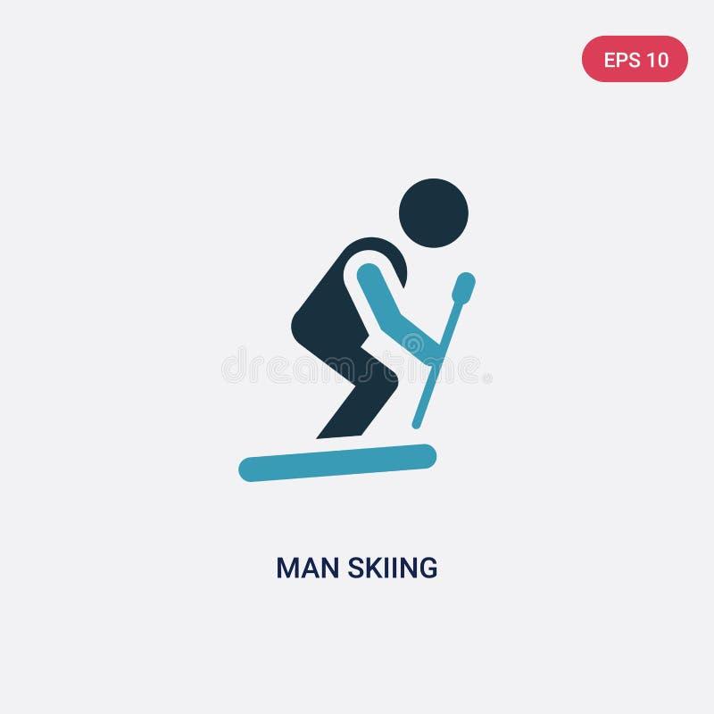 Icône de vecteur de ski d'homme de couleur deux de concept de personnes le symbole bleu d'isolement de signe de vecteur de ski d' illustration libre de droits