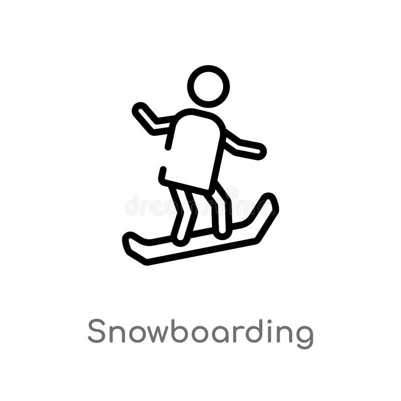 icône de vecteur de snowboarding d'ensemble ligne simple noire d'isolement illustration d'?l?ment de concept de temps libre Cours illustration stock