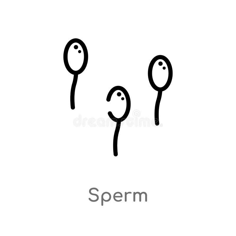 icône de vecteur de sperme d'ensemble ligne simple noire d'isolement illustration d'élément de santé et de concept médical Course illustration stock