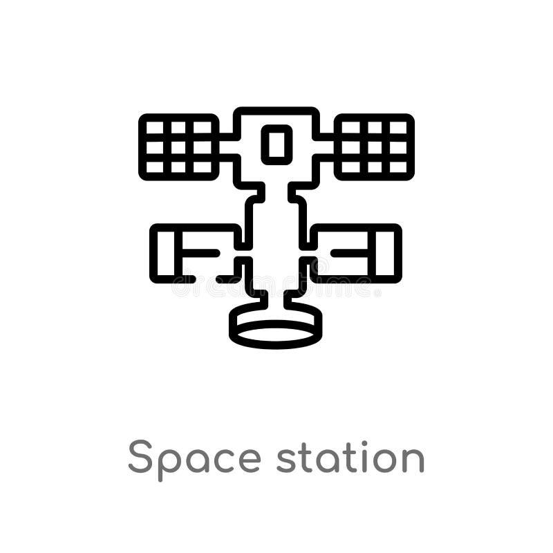 icône de vecteur de station spatiale d'ensemble ligne simple noire d'isolement illustration d'?l?ment de concept d'astronomie Cou illustration libre de droits