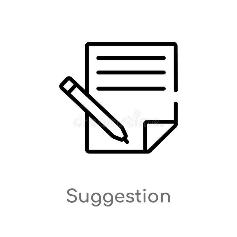 icône de vecteur de suggestion d'ensemble ligne simple noire d'isolement illustration d'élément de concept social de médias Cours illustration libre de droits