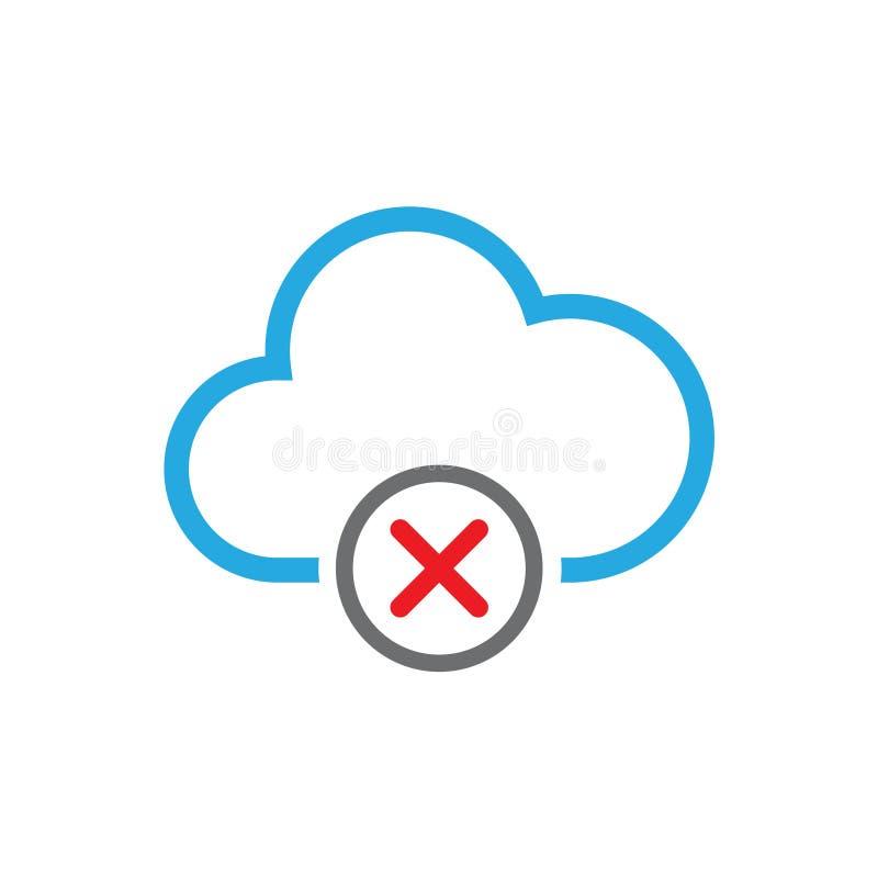 Icône de vecteur de suppression de base de données de nuage illustration libre de droits