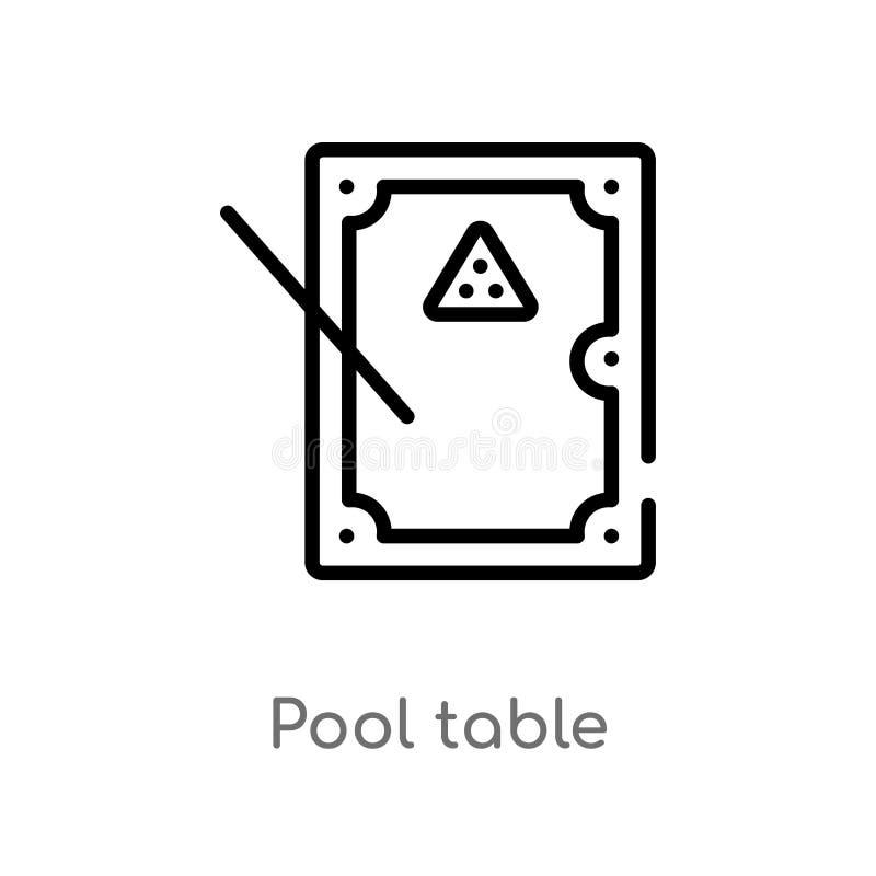icône de vecteur de table de billard d'ensemble ligne simple noire d'isolement illustration d'élément de concept de jeu piscine e illustration libre de droits