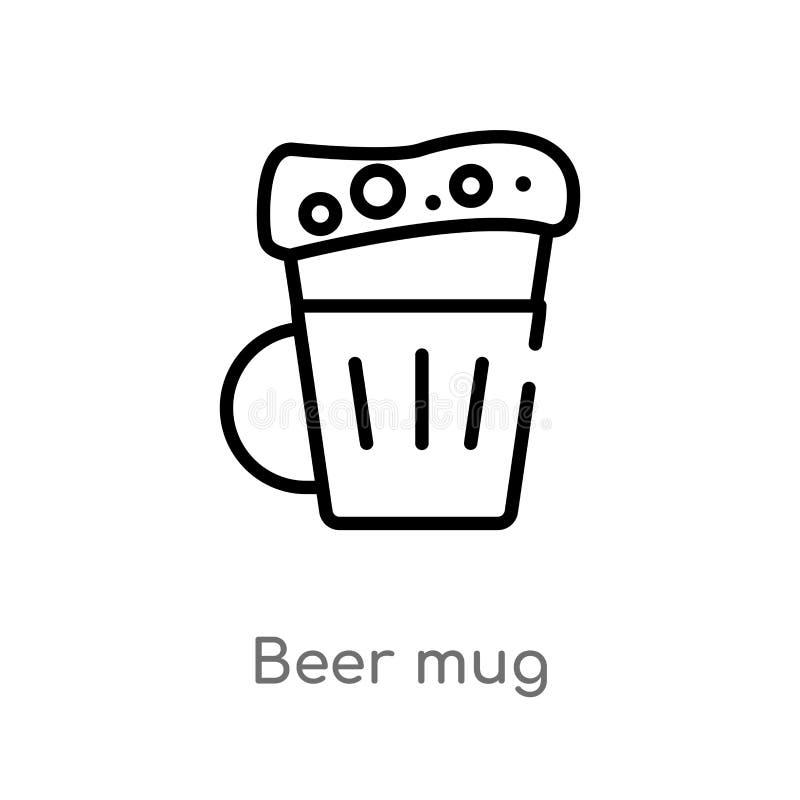 icône de vecteur de tasse de bière d'ensemble ligne simple noire d'isolement illustration d'élément de concept de boissons tasse  illustration libre de droits