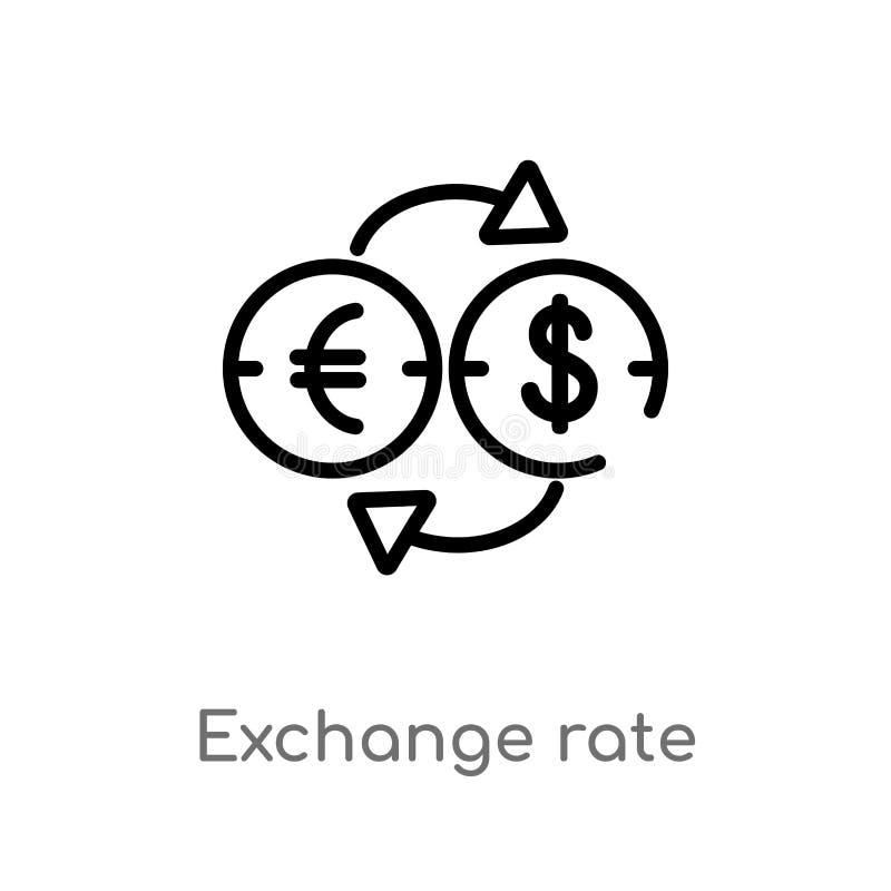 icône de vecteur de taux de change d'ensemble ligne simple noire d'isolement illustration d'?l?ment de concept de commerce ?lectr illustration de vecteur