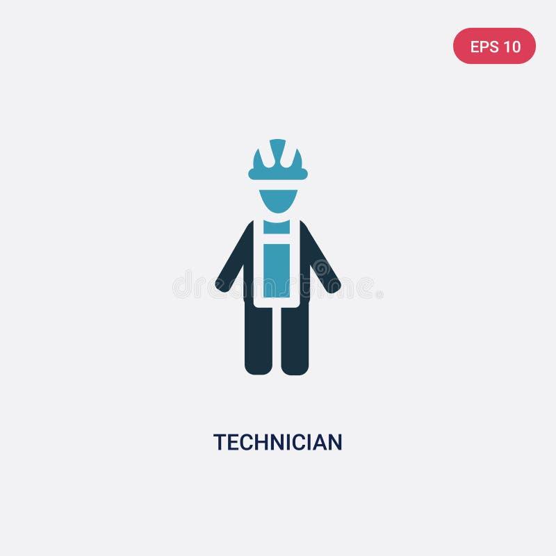Icône de vecteur de technicien de deux couleurs de concept de personnes le symbole bleu d'isolement de signe de vecteur de techni illustration stock