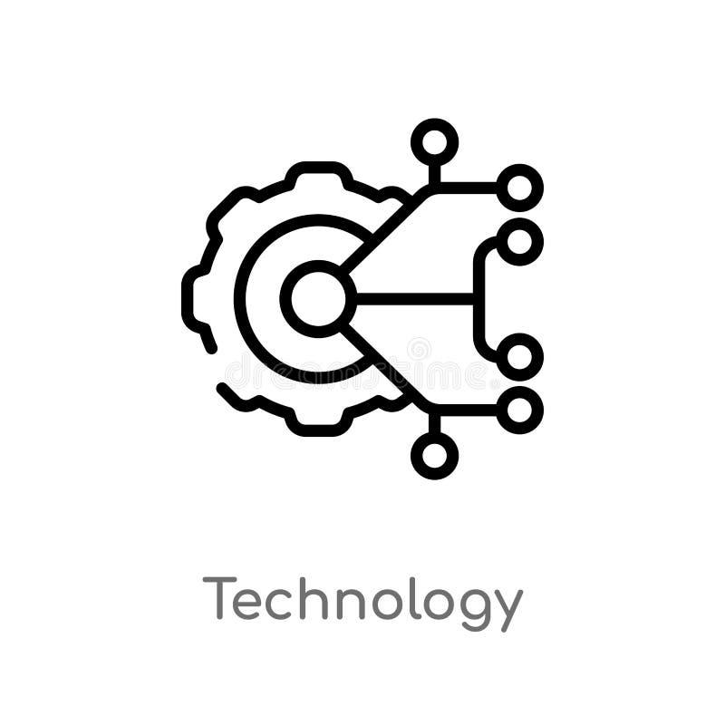 icône de vecteur de technologie d'ensemble ligne simple noire d'isolement illustration d'élément de concept technologie editable  illustration libre de droits