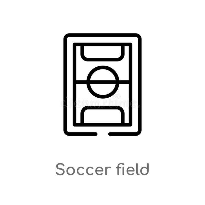 icône de vecteur de terrain de football d'ensemble ligne simple noire d'isolement illustration d'?l?ment de concept du football C illustration libre de droits
