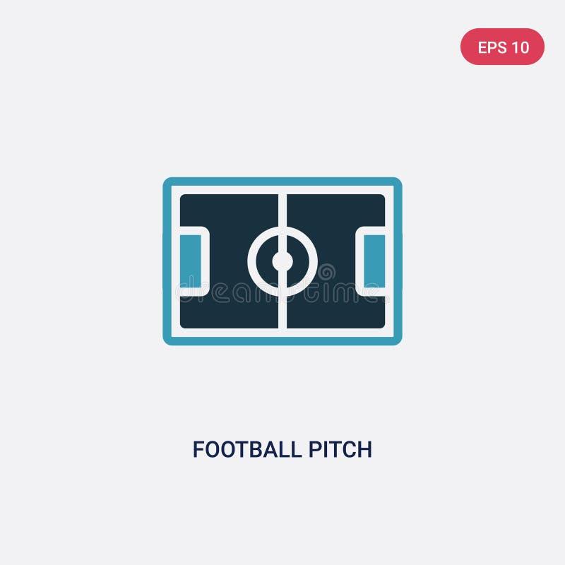 Icône de vecteur de terrain de football de deux couleurs des sports et de concept de concurrence le symbole bleu d'isolement de s illustration libre de droits