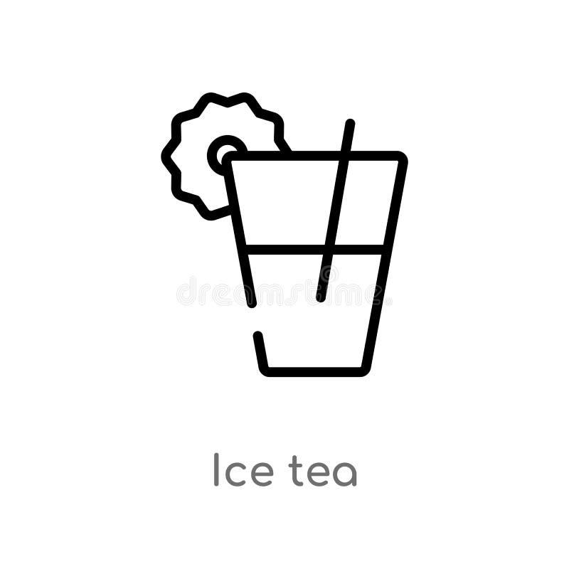 icône de vecteur de thé de glace d'ensemble ligne simple noire d'isolement illustration d'élément de concept de boissons thé de g illustration stock