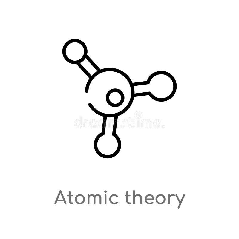 icône de vecteur de théorie atomique d'ensemble ligne simple noire d'isolement illustration d'élément de concept d'éducation Cour illustration stock