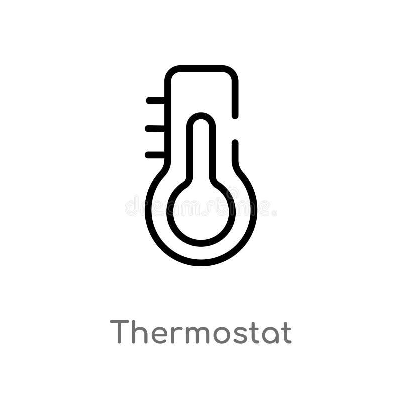 icône de vecteur de thermostat d'ensemble ligne simple noire d'isolement illustration d'élément de concept futé de maison Course  illustration libre de droits