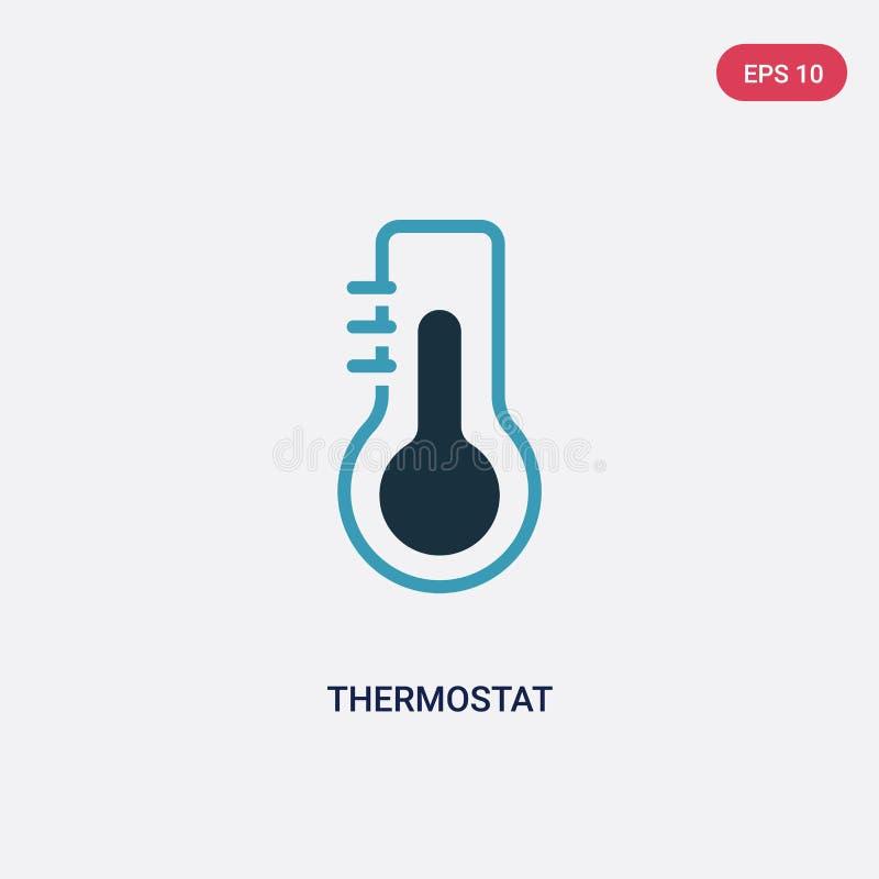Icône de vecteur de thermostat de deux couleurs de concept futé de maison le symbole bleu d'isolement de signe de vecteur de ther illustration libre de droits