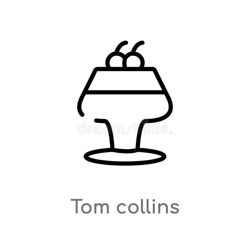 icône de vecteur de Tom collins d'ensemble ligne simple noire d'isolement illustration d'élément de concept de boissons course ed illustration libre de droits