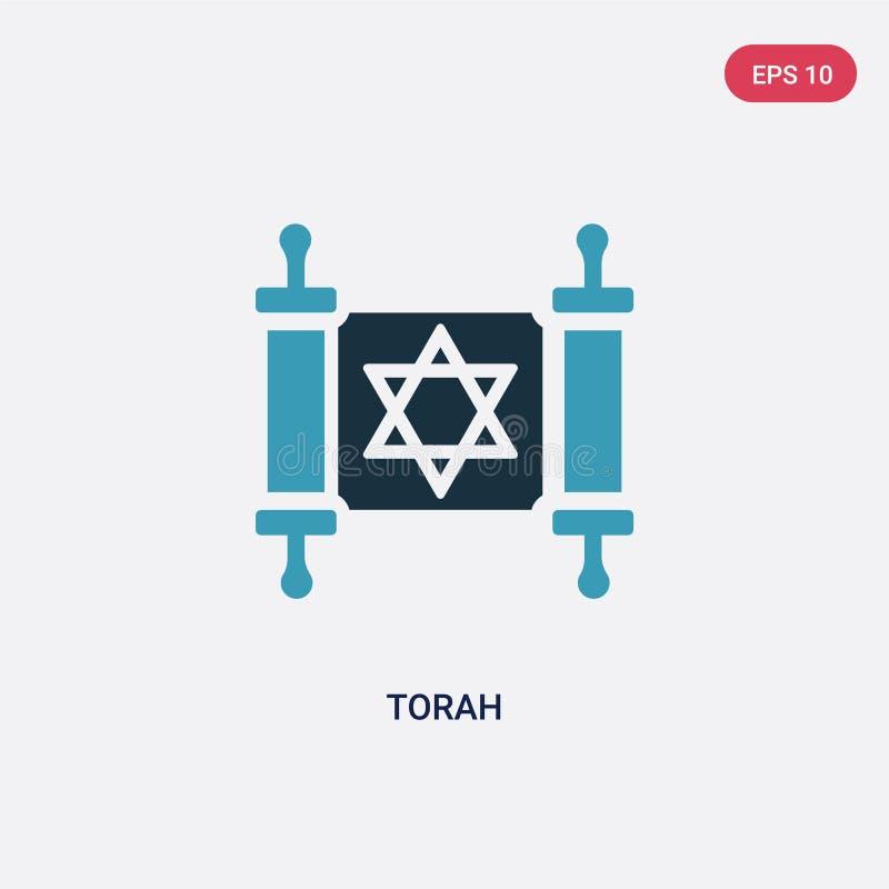 Icône de vecteur de torah de deux couleurs de concept de religion le symbole bleu d'isolement de signe de vecteur de torah peut ê illustration libre de droits