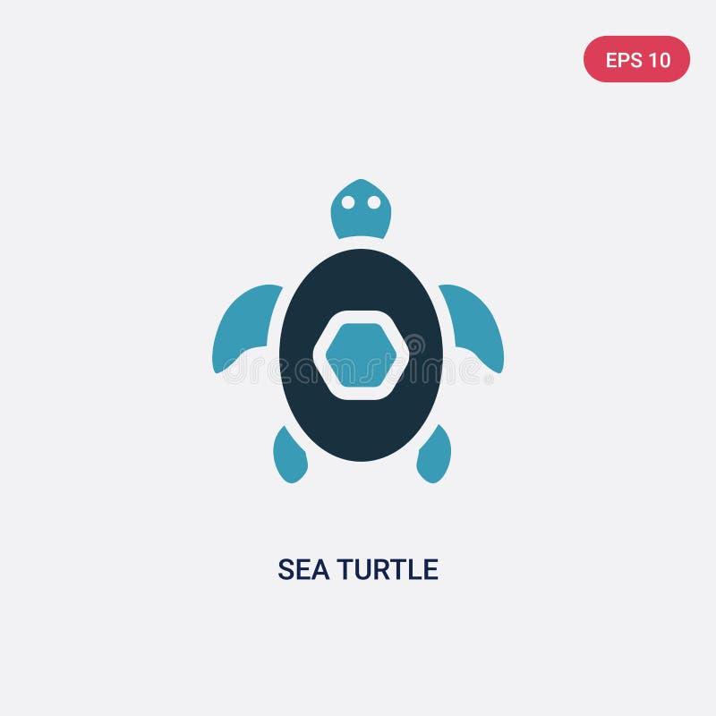 Ic?ne de vecteur de tortue de mer de deux couleurs de concept d'?t? le symbole bleu d'isolement de signe de vecteur de tortue de  illustration de vecteur