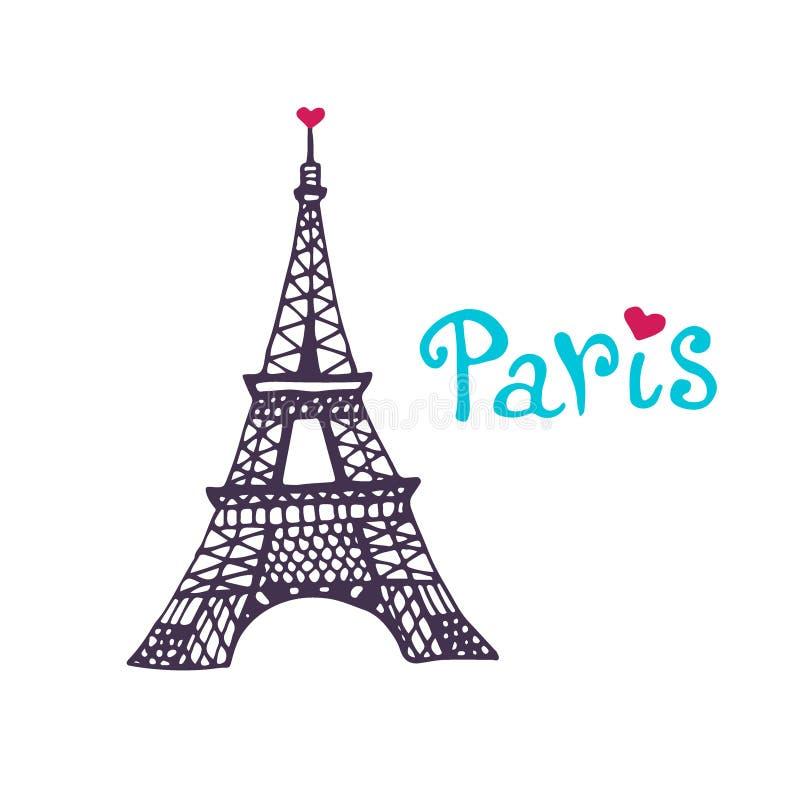 Icône de vecteur de Tour Eiffel Copie tirée par la main Design de carte de Paris illustration stock