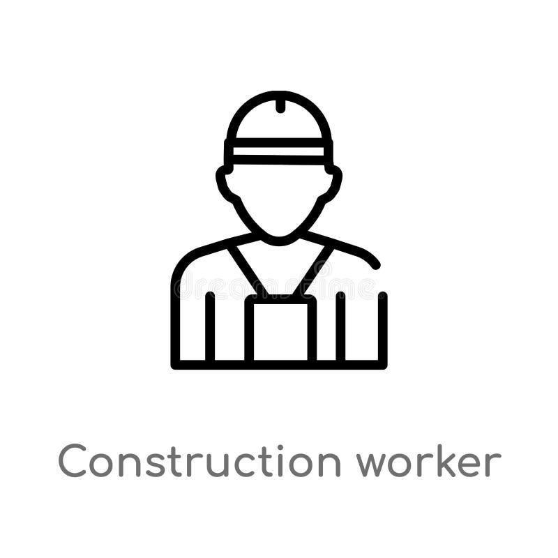 icône de vecteur de travailleur de la construction d'ensemble ligne simple noire d'isolement illustration d'élément de concept d' illustration libre de droits