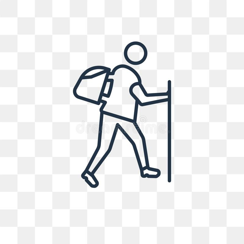 Icône de vecteur de trekking d'isolement sur le fond transparent, linéaire illustration libre de droits