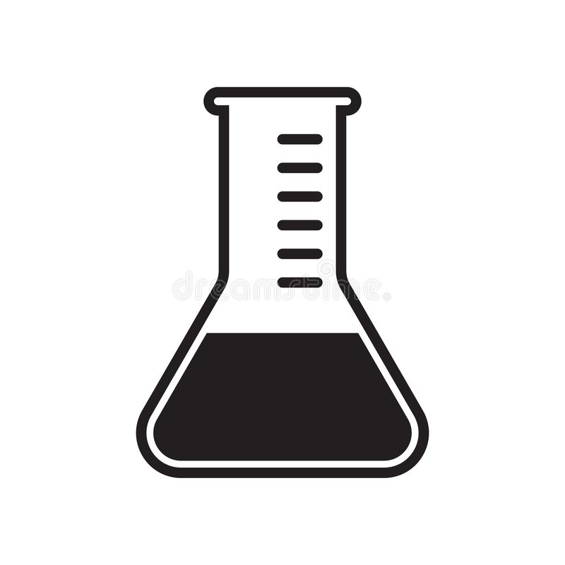 Icône de vecteur de tube à essai Le vecteur a médicalement examiné le label médicalement approuvé de fiole de becher de laboratoi illustration stock