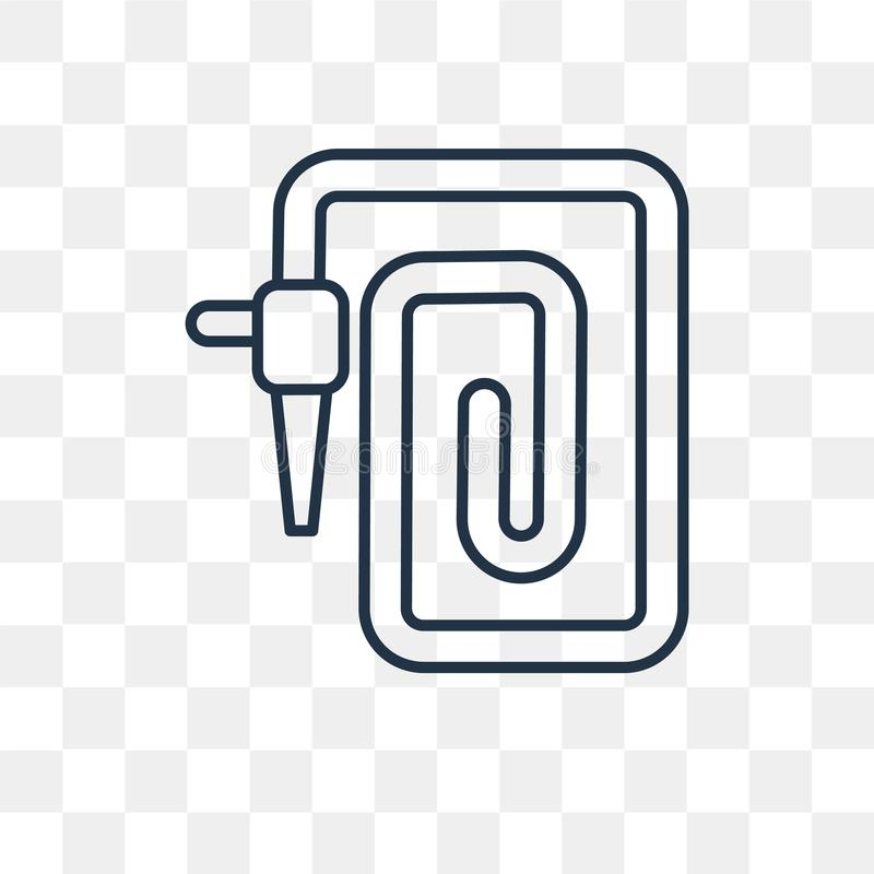 Icône de vecteur de tuyau de l'eau d'isolement sur le fond transparent, linea illustration stock
