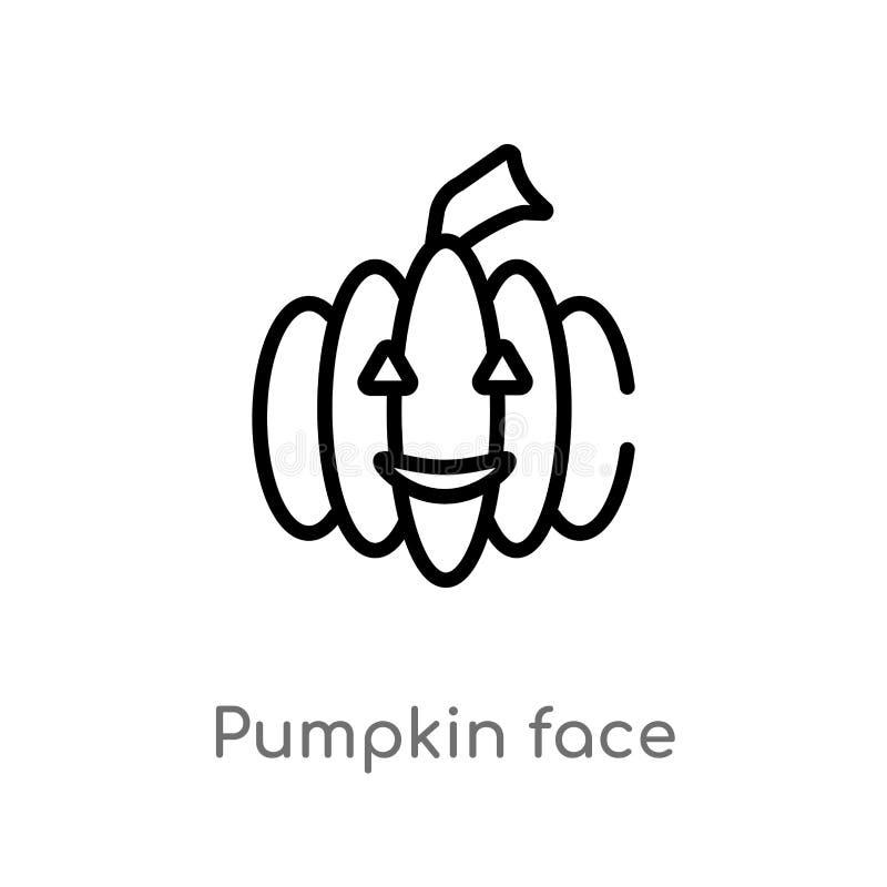 ic?ne de vecteur de visage de potiron d'ensemble ligne simple noire d'isolement illustration d'?l?ment de concept de Halloween Co illustration de vecteur