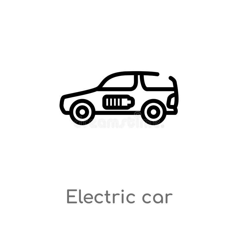icône de vecteur de voiture électrique d'ensemble ligne simple noire d'isolement illustration d'?l?ment du futur concept de techn illustration stock