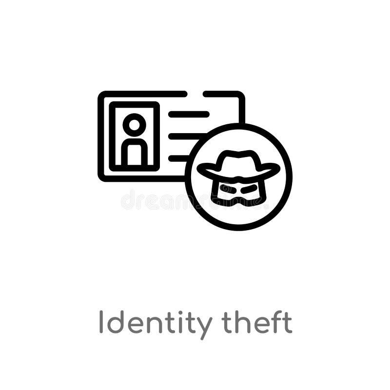 icône de vecteur de vol d'identité d'ensemble ligne simple noire d'isolement illustration d'élément de concept de cyber Course Ed illustration de vecteur