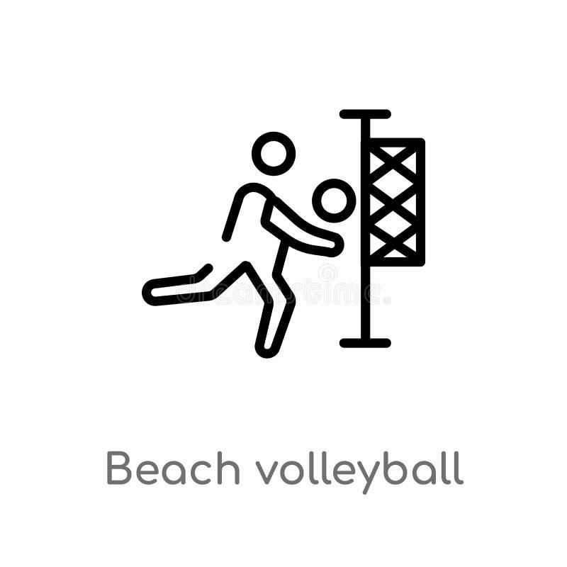 icône de vecteur de volleyball de plage d'ensemble ligne simple noire d'isolement illustration d'élément de concept d'été Course  illustration libre de droits