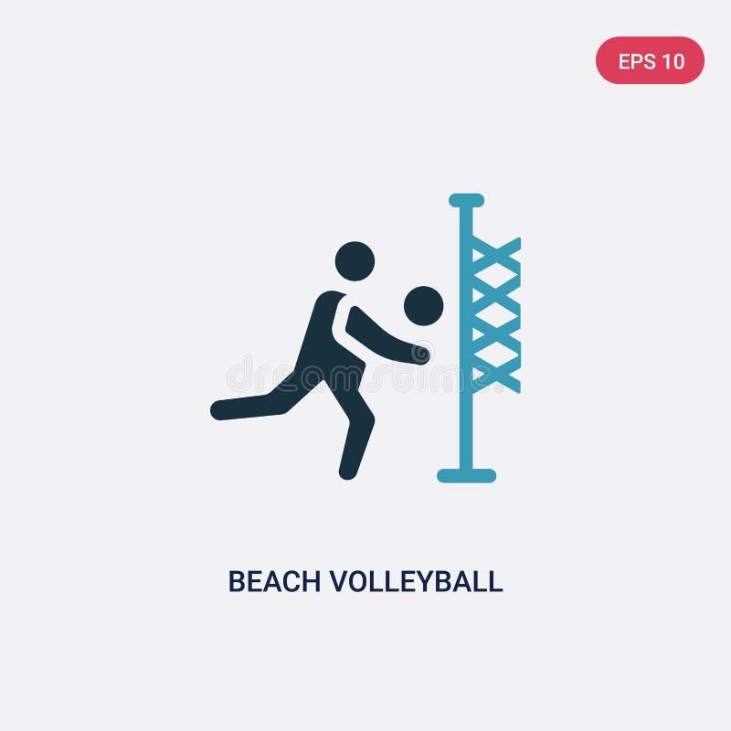 Ic?ne de vecteur de volleyball de plage de deux couleurs de concept d'?t? le symbole bleu d'isolement de signe de vecteur de voll illustration stock