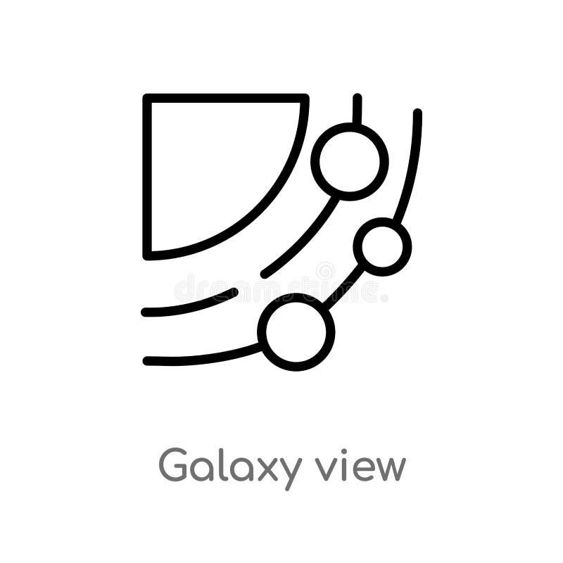 icône de vecteur de vue de galaxie d'ensemble ligne simple noire d'isolement illustration d'élément de concept d'astronomie Cours illustration stock