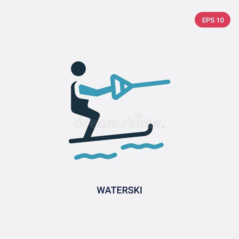 Icône de vecteur de waterski de deux couleurs de concept d'été le symbole bleu d'isolement de signe de vecteur de waterski peut ê illustration de vecteur