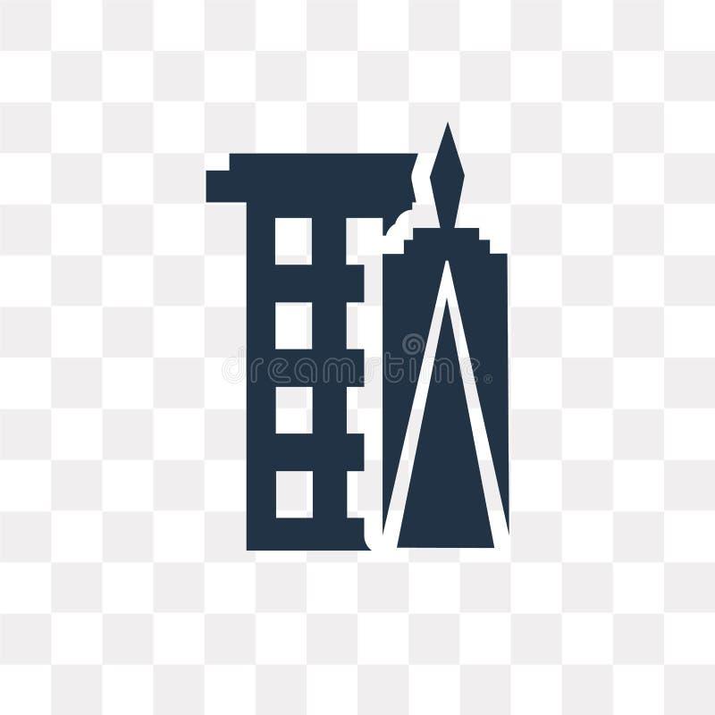 Icône de vecteur de World Trade Center d'isolement sur le backgroun transparent illustration stock