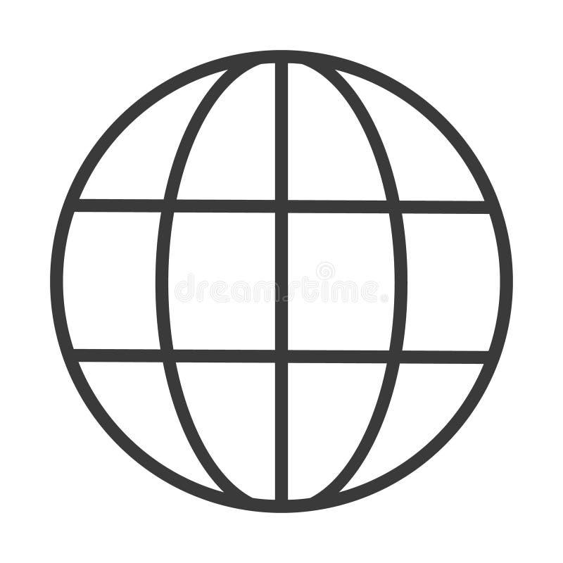 Icône de vecteur de World Wide Web Ligne illustration de vecteur de logo Symbole de navigateur illustration libre de droits