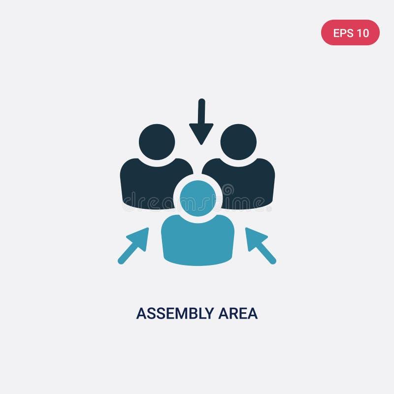 Icône de vecteur de zone de rassemblement de deux couleurs de concept de formes le symbole bleu d'isolement de signe de vecteur d illustration stock