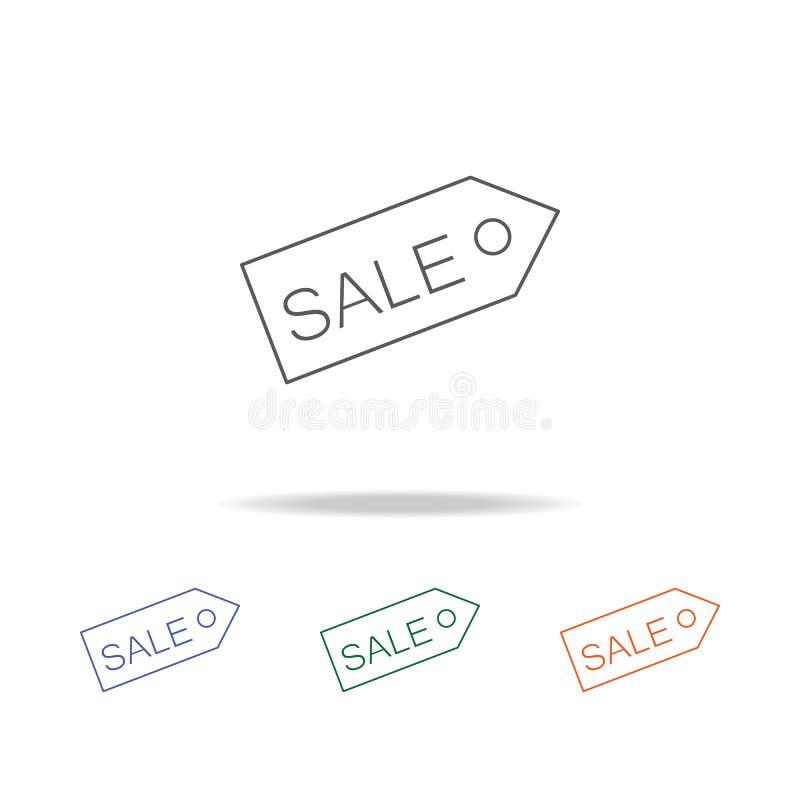 Icône de vente d'étiquette Élément d'une icône colorée multi d'achats pour les apps mobiles de concept et de Web Ligne mince icôn illustration de vecteur