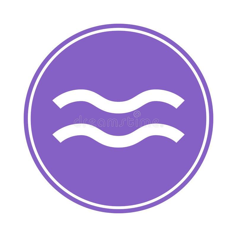 Icône de Verseau Vecteur astrologique, signe d'horoscope Symbole de zodiaque Élément d'air collant Illustration de vecteur d'isol illustration libre de droits