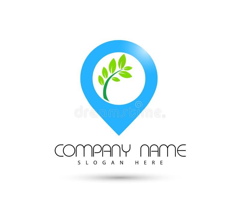 Icône de vert de symbole de concept de construction de logo de vecteur d'icône d'emplacement de tourisme d'hôtel sur le fond blan illustration de vecteur