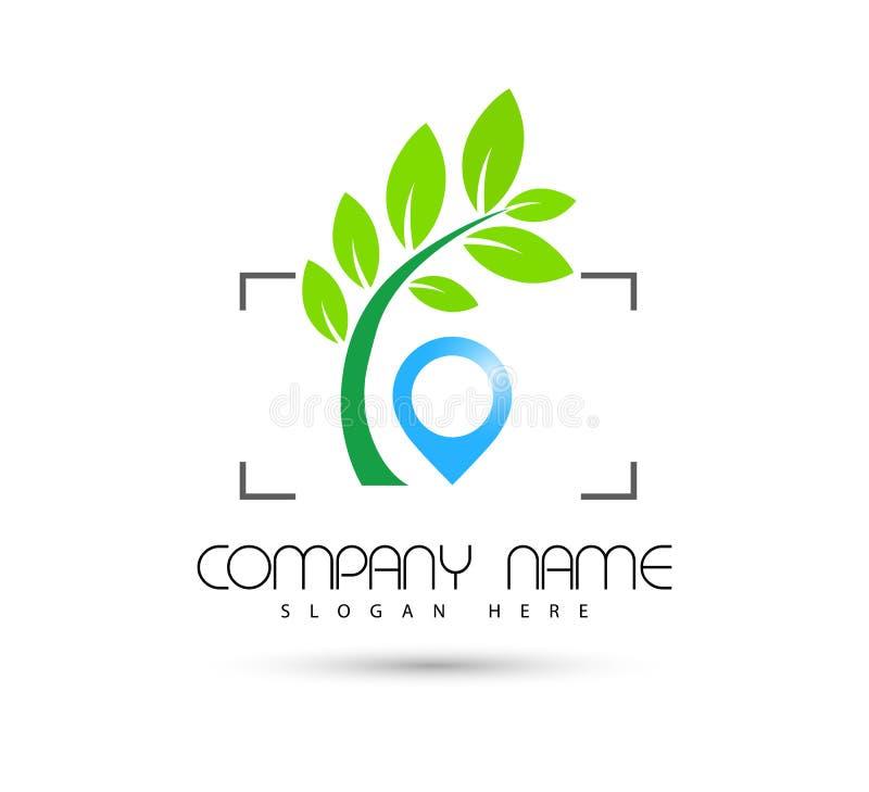 Icône de vert de symbole de concept de construction de logo de vecteur de foyer d'icône d'emplacement de tourisme d'hôtel sur le  illustration stock