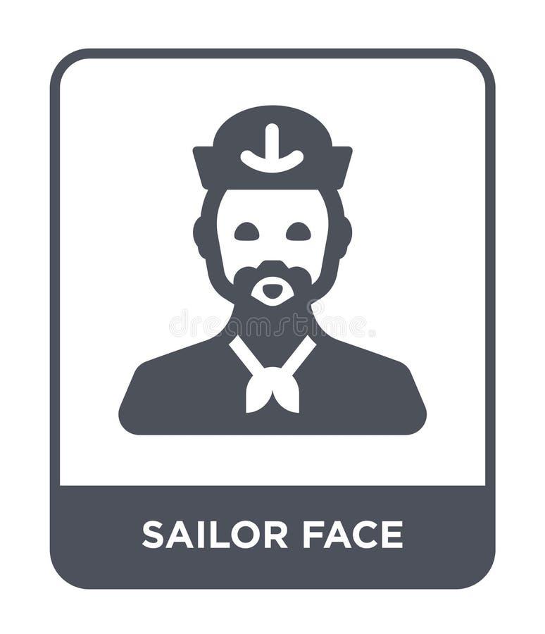 icône de visage de marin dans le style à la mode de conception icône de visage de marin d'isolement sur le fond blanc icône de ve illustration libre de droits