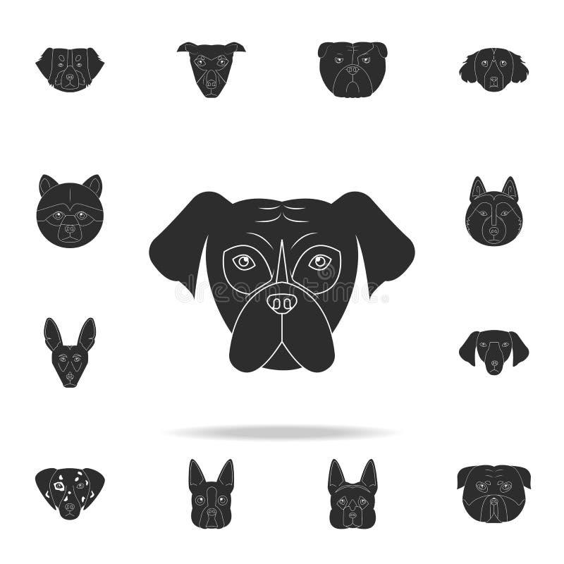 Icône de visage de mastiff Ensemble détaillé d'icônes de silhouette de chien Conception graphique de la meilleure qualité Une des illustration de vecteur