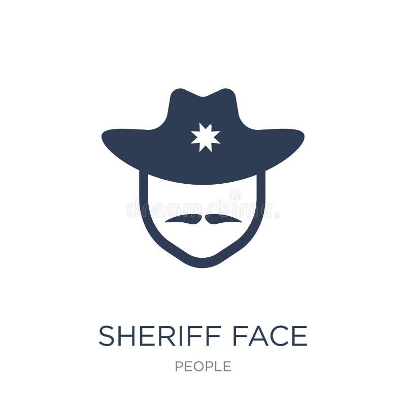Icône de visage de shérif Icône plate à la mode de visage de shérif de vecteur sur le blanc illustration libre de droits