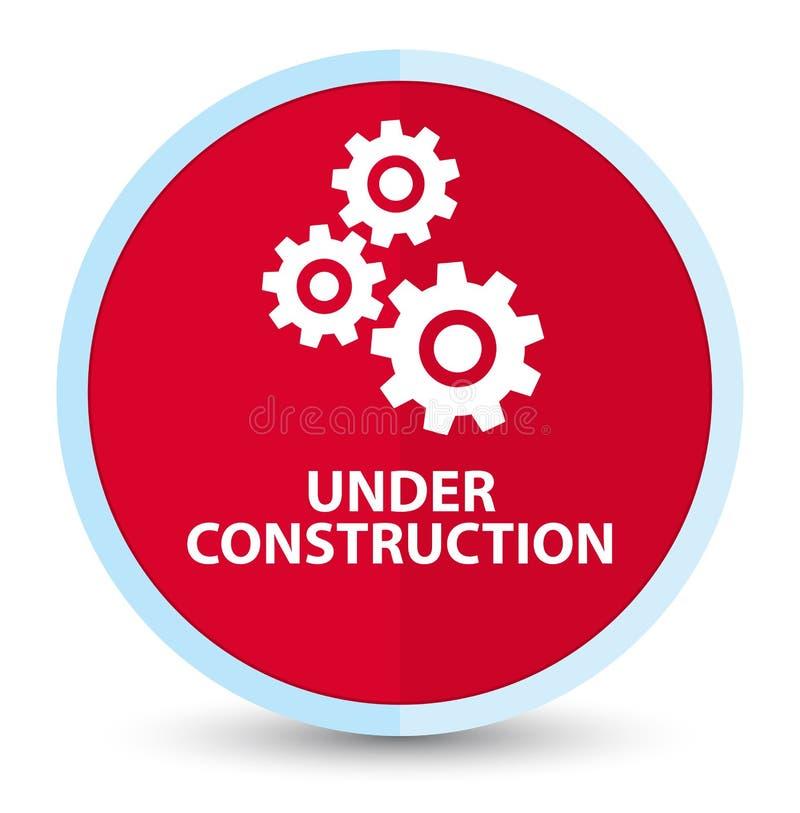 (Icône de vitesses) bouton rond rouge principal plat en construction illustration stock