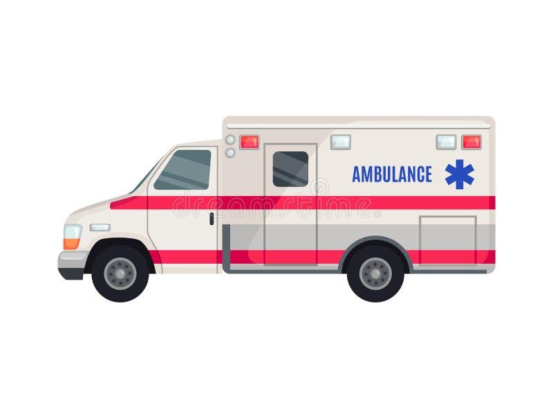 Icône de voiture d'ambulance dans le style plat d'isolement sur le fond blanc illustration libre de droits
