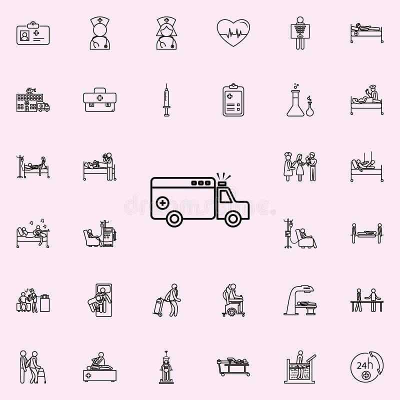 Icône de voiture d'ambulance Ensemble universel d'icônes d'hôpital pour le Web et le mobile illustration libre de droits