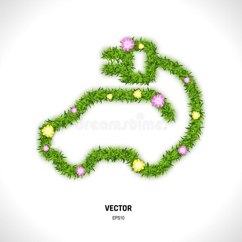 Icône de voiture d'Eco faite d'herbe verte et fleurs illustration stock