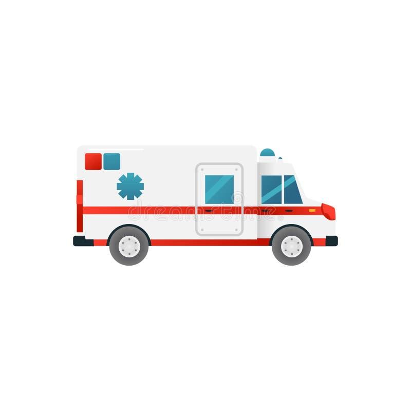 Icône de voiture de secours médical d'isolement sur le fond blanc Vue de côté de transport d'ambulance illustration de vecteur